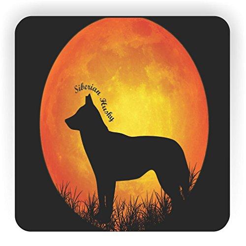 Rikki Knight Siberian Husky Hund Silhouette by Moon Design Quadratisch Kühlschrank Magnet