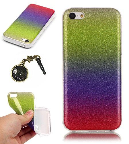 TPU Coque iPhone 5C, Bling Bling Gliter Sparkle Coque Paillette [ Ultra Mince ] Housse Etui Premium Coque pour Apple iPhone 5C +Bouchons de poussière (14RR) 10