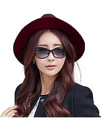 a74ea3b98ec8e1 Siggi Ladies 100% Wool Felt Fedora Hat Wide Brim Derby Church Party Winter  Hats for