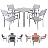 Miweba Bermuda Polywood 4+1 Aluminium Sitzgarnitur 90x90 Alu Gartenmöbel 4 Stühle Sitzgruppe Tisch Holz Gartenset (Hellgrau)