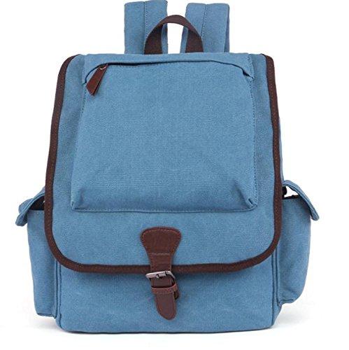 &ZHOU Borsa di tela, Zaino, moda, uomini e donne, borsa di tela, borsa a tracolla, stile preppy, sacchi di grande capacità, borse, pacchetto esterno in viaggio , deep blue Blue