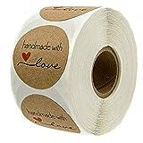 EisEyen 500 Stück Roll-in Kraftpapier Aufkleber Rund Natur Kraft Handmade with Love Sticker für Backen Geschenktüten Hochzeit Thanksgiving