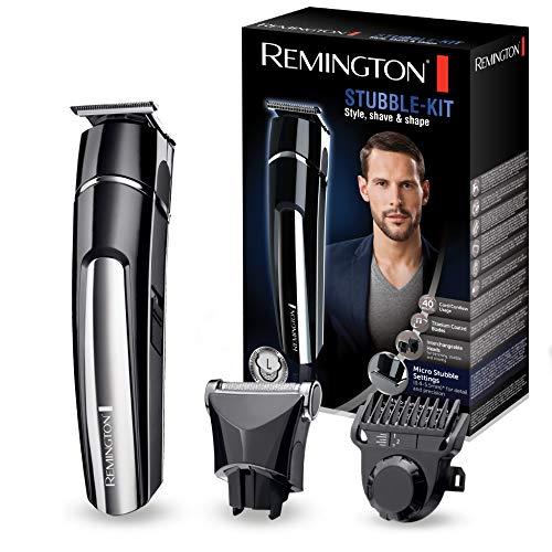 Remington Bart Trimmer Herren Set MB4110 (inkl. 2 Aufsteckköpfe: Präzisionsklinge&Folienrasieraufsatz, Netz-/Akkubetrieb, Lithium, USB-Ladefunktion inkl. Kabel + Tasche) Bartschneide Set