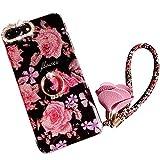 iPhone 8 Plus Hülle,iPhone 7 Plus Hülle Glitzer,iPhone 8 Plus Case Schwarz Pink Rosa Blume Silikon Schutzhülle Ultra Dünn Weich TPU Silikon Case Luxus Rosa Blumen Muster Bling Glänzend Glitzer Case