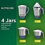 Philips Viva Collection HL7701/00 750-Watt Mixer Grinder with 4 Jars (Elegant Lavender and White)