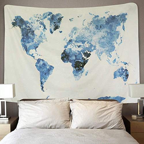 Dremisland Tapiz de Pared Vendimia Tapiz Mapa del Mundo Tapiz Mandala Hippie Azul Blanco Mural Tela Decoración del Hogar Estera de Yoga (Mapa del Mundo Azul, M / 130 X 150 cm)