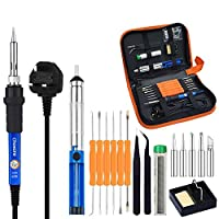 Chosure Soldering Iron Kit Full Set 60W 220V with Adjustable Temperature Welding Iron, 5pcs Tips, Desoldering Pump, 2pcs Tweezers, Tin Wire Tube, Stand and 6pcs Aid Tools in PU Carry Bag
