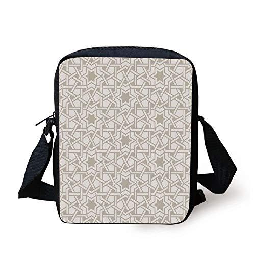 Moroccan,Tangled Modern Simplistic Artwork Based on Traditional Oriental Arabic Patterns Print,Beige Print Kids Crossbody Messenger Bag Purse (Artworks Tangled)