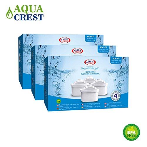 Aqua Crest AK-07 compatibles Brita Maxtra Mavea 106832 Jug cartouches filtrantes (12)