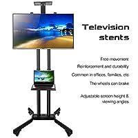 TV Stand Mobile Cart with Wheels Bracket Mount Tilt Height Adjustable Floor Trolley/Fixing Screws Kit