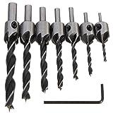 Malayas®Senker Bohrer 7 tlg HSS 5 Flöte Senkbohrer Set Screwdriver Reibahle Holz Metall Aluminium Kunststoff Countersink Drill Werkzeug 3-10mm