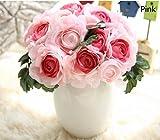 sf-world 8heads 26cm 1bunch Künstliche Rose Seide Blumen Blumen Fake Valentines Rose
