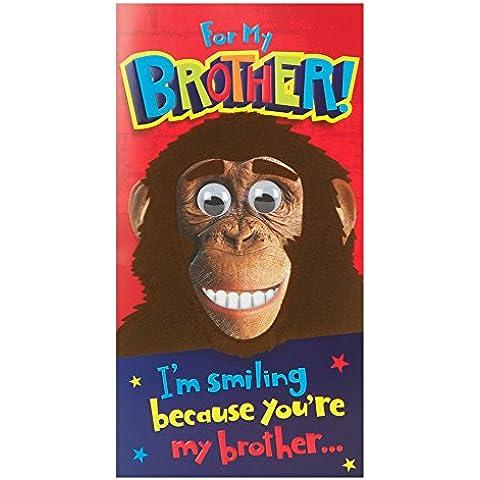 Hallmark - Tarjeta de felicitación de cumpleaños para hermano (tamaño mediano), diseño de mono con ojos en movimiento