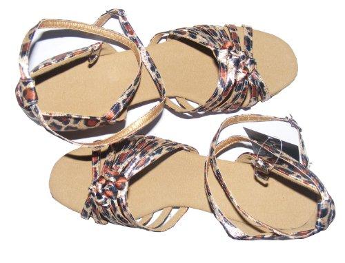 Pobfashion Satin-Kinders Tanzschuhe mit sechs chinesischen Knoten für lateinamerikanische Tänze Leopardenmuster