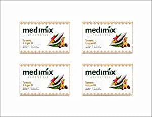 Medimix Oil Bathing Soap, Turmeric and Argan, 125g ( Pk of 4 )