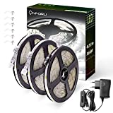 Onforu 15M LED Streifen mit Netzteil | IP65 Wasserdicht LED Strip 450 LEDs Lichtband Leiste mit AN / AUS-Schalter | Selbstklebend LED Band | 6000K Kaltweiß | Innen-und Außenbeleuchtung für Feiertage Haushalt Küche Deko