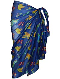 Royal Blue Sarong with Multi Coloured Butterfly Design
