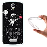 WoowCase Doogee X6 - X6 Pro Hülle, Handyhülle Silikon für [ Doogee X6 - X6 Pro ] Astronaut Herz - I Love to The Moon and Back Handytasche Handy Cover Case Schutzhülle Flexible TPU - Transparent