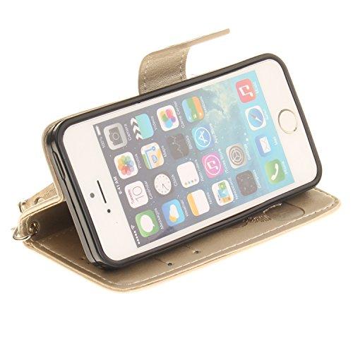 PU Case pour la Apple iPhone 5 / 5s / SE Coque,gaufrage Panda Étui en PU Cuir Phone Case Cover Couverture Fonction Support avec Fermeture Aimantée de Feuille Motif Imprimé+Bouchons de poussière (5CR) 9