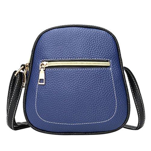 UFACE Vintage Damen Kontrast ReißVerschluss Schulter Messenger Bag Handytasche Frauen Hit Farbe Leder Crossbody Tasche Schultertasche (Blau)