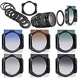 Neewer Stufenweise Neutral Density Filterset umfasst Set: (3) abgeschufte Grau ND Filter Set (ND2, ND4, ND8) + (3) abgeschufte Farbfilter -Set (grün, orange, blau) + (9) Metall-Adapterringe (49mm, 52mm, 55mm, 58mm, 62mm, 67mm, 72mm, 77mm, 82mm) + (1) Quadratisch Filterhalter + (1) Filter Tragetasche