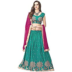 Clickedia Womens Banglori Silk, With Blouse Piece,Semi Stitched Lehenga Choli