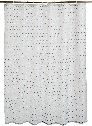 AmazonBasics Rideau de douche en tissu imprimé 180 x 200cm Carrés bleus