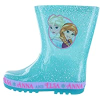 Disney Girls Frozen Flashing Sole Blue Glitter Wellies Boots Child Sizes 6 to 12