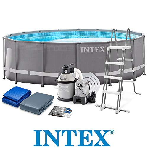 Metall-frame Pool-set (Intex Ultra Rondo Frame Pool Set, 19156 liters, Grau, Durchmesser 488 x 122 cm)
