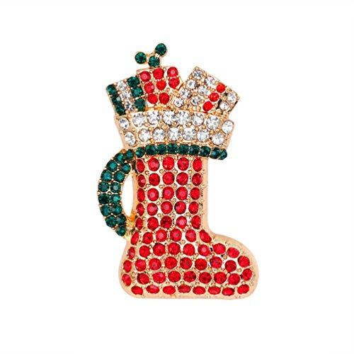 Sanwood Retro Multicolor Cute Strass Christmas Boot Damen Brosche Pin Weihnachts Zubehör