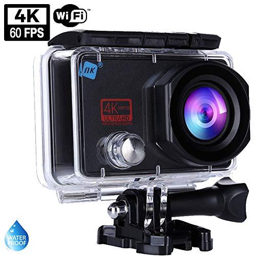 NK Cámara Deportiva subacuática Hole 4K Ultra HD 60 FPS, 16MP, WiFi - HDMI, Carcasa Impermeable, 170º Gran Angular, Sensor Ultra-Avanzado SonyIMX386, 1.050mAh (15 Accesorios Múltiples)