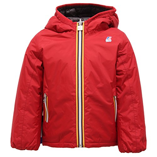 5765R giubbotto bimbo K-WAY JAQUES THERMO PADDED DOUBLE rosso-grigio jacket kid [4 YEARS]