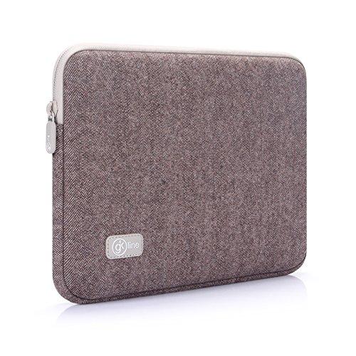 gk line Tasche Tweed Universal Notebook Laptop MacBook Netbook Tablet Schutzhülle Etui schwarz wasserresistent (9.7 - 10.2 Zoll, Mocca)