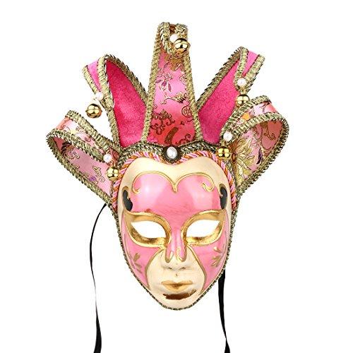 YUFENG Masquerade Jolly Jester Maske Cosplay Mardi Gras Ball Dance Geburtstag Party tragen oder Decor Rose