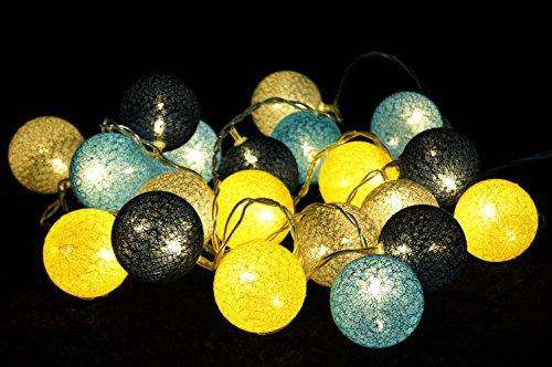 Gelb Dekorative Lichterkette (Guru-Shop Stoff Ball LED Kugel Lampion Lichterkette `modern Colours` - Grau/blau/gelb, Baumwollfäden, Stimmungsleuchte, Dekorative Girlande, Partylichterkette)