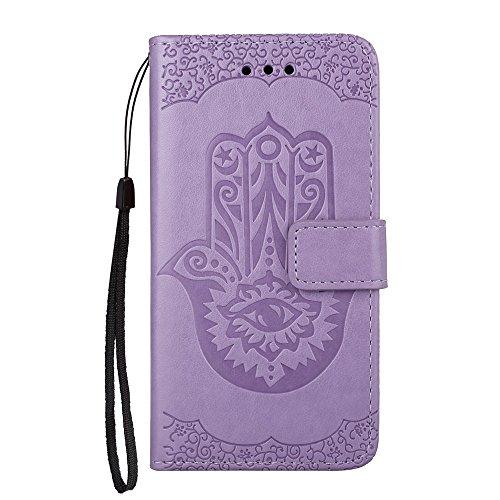 EKINHUI Case Cover Geprägtes Palm Flower Pattern Retro PU Leder Geldbörse Tasche Tasche mit Card Slots und Lanyard für Samsung Galaxy A5 (2017) ( Color : Purple ) Purple