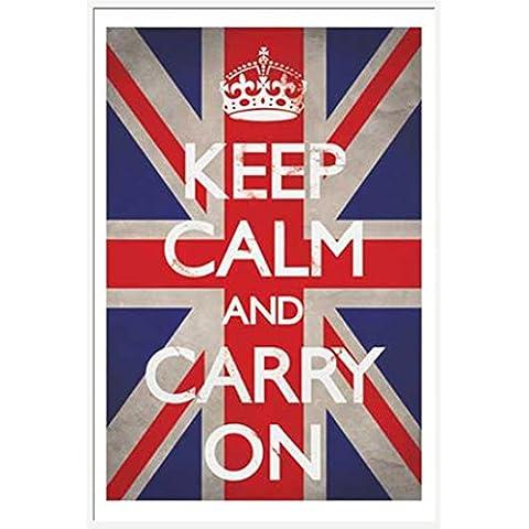 Empire Keep Calm-Póster, diseño de bandera del Reino Unido con accesorios