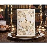 VStoy Marrón Claro Corte Láser Set de tarjetas invitaciones de boda 20Piezas de bolsillo para el matrimonio de compromiso novio y de la novia Love Kiss estilo con sobres sellos de recuerdo de la fiesta