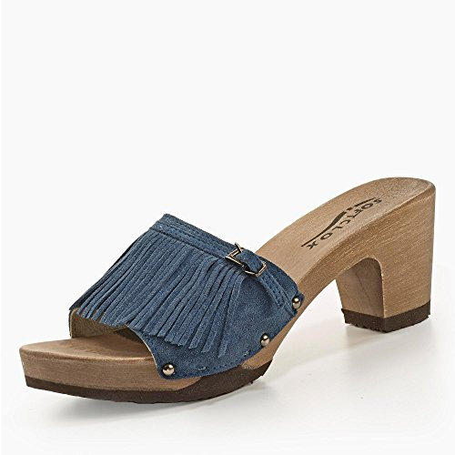 Softclox Pantolette mit Holzboden Jeans