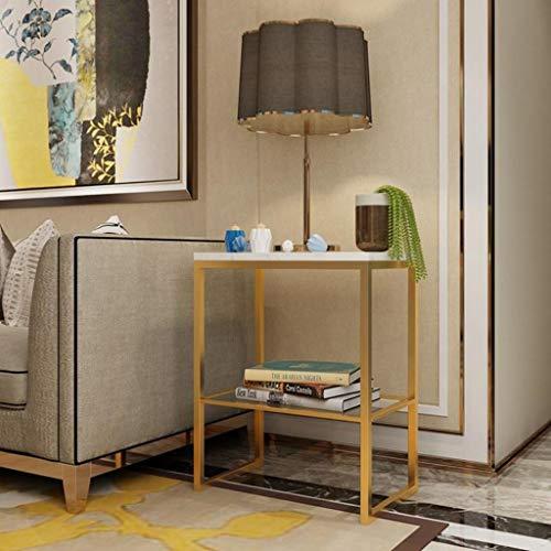 Nachttisch Tische Couchtisch Runder Beistelltisch mit Marmor-Exterieur Leichtmetall-Möbel für Nachttisch/Flur/Wohnzimmer (Color : White, Size : C) ()
