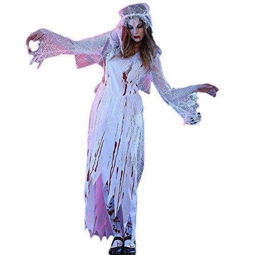 Cosfun Zombie Braut Kleid Ghost Braut Cosplay Kostüm Halloween blutiges (Blutige Kleid Kostüme)