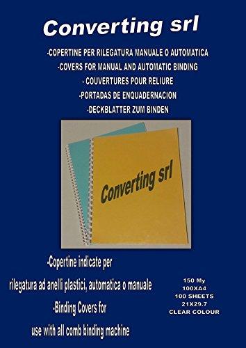 Convertingsrl Copertine per Rilegatrice in PVC trasparente, 150 mic, 100 pezzi, A4