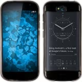 PhoneNatic Case kompatibel mit Yota Yotaphone 2 - grau Silikon Hülle transparent + 2 Schutzfolien