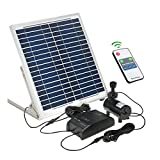 Decdeal LED Solar Wasserpumpe Solarbrunnenpumpe Teichpumpe mit Akku und Fernbedienung 15W