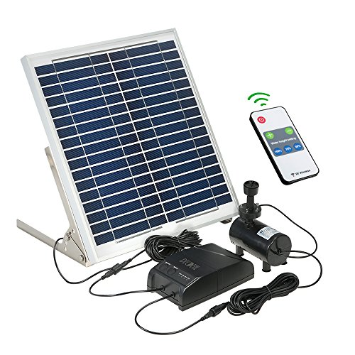 Galapara Solar Springbrunnen Multifunktionale Solar Power Brunnen 15 Watt Solar Panel + 3,6 Watt Brushless Wasserpumpe Kit mit Speicherbatterie Fernbedienung für Gartenteich Vogel Bad (15 Solar-panel)
