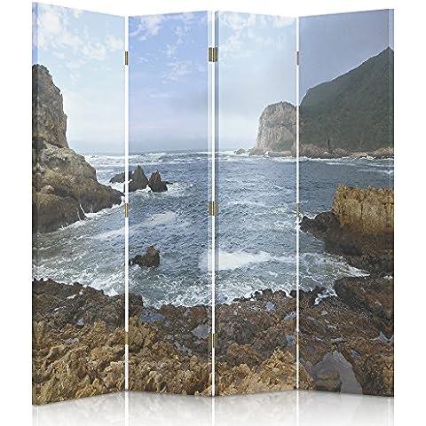 Feeby Frames Biombo impreso sobre lona, tabique decorativo para habitaciones, a doble cara, de 4 piezas, 360° (145x150 cm), VISTA, PLAYA PEDREGOSA, MAR, MAR, AZUL, MARRÓN