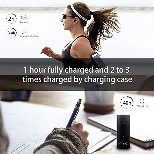 Miric True inalámbrico Auriculares de botón con Estuche de Carga y micrófono Integrado,  estéreo in- Ear Auriculares y Bluetooth Auriculares Profesional