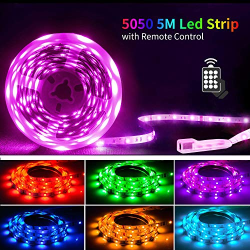 Mehrere Streifen-design (Led Strip 5M,SHINELINE Led Lichtband Led Band SMD5050 RGB Led Strip mit Fernbedienung und Netzteil,Led Beleuchtung.MEHRWEG)
