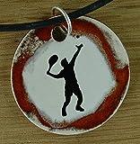 Echtes Kunsthandwerk: Schöner Keramik Anhänger Tennis; Ballsport, Tennisspieler, Sport, Sportverein