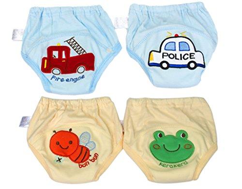 BONAMART 2 Stück Baby Junge Mädchen Kids Trainerhosen Unterwäsche 80 90 95 100 cm, 4 Einheiten Blau Gelb, 90CM